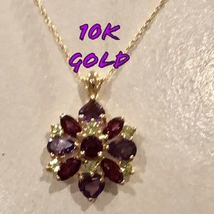 10K gold boho flower necklace w/ stones LN VTG